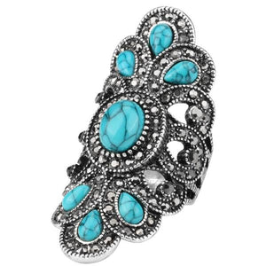 Vintage Turquoise & Silver Statement Ring