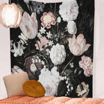 Blush Blossoms on Black Tapestry