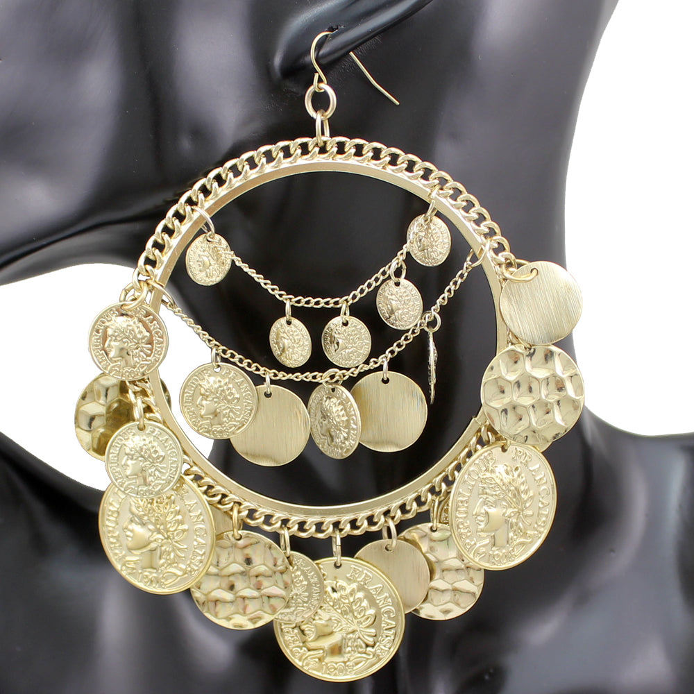 Gypsy Coins Hoop Earrings - 2 Colors