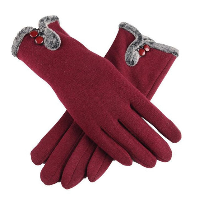 New Female Autumn Winter Non-Inverted Velvet Cashmere Full Finger Warm Lace Gloves Women Cotton Touch Screen Gloves G82