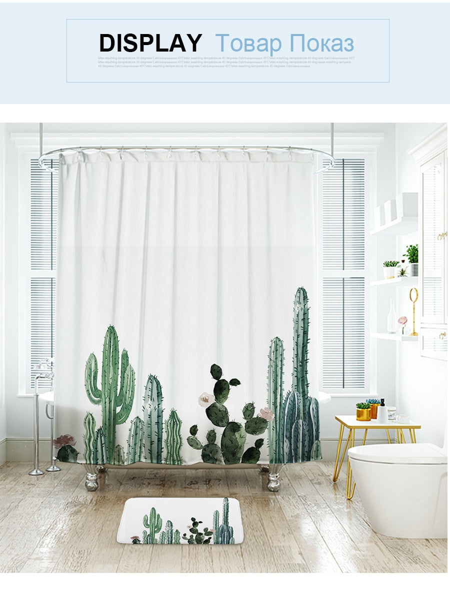Ibano Tropical Cactus Shower Curtain Waterproof Polyester