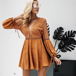 Sexy Lace Up Faux Suede Mini Dress