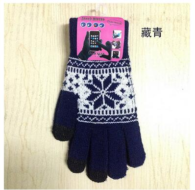 2017 Winter Warm touch screen gloves men women wool knitted Gloves candy color Snowflake Mittens for Mobile Phone Tablet Pad