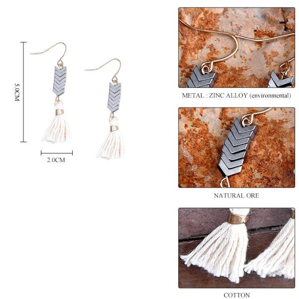 Rustic Arrow & Tassel Natural Stone Dangly Earrings