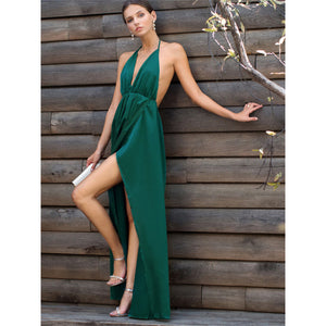 Emerald Green Satin Strappy Backless Maxi Dress