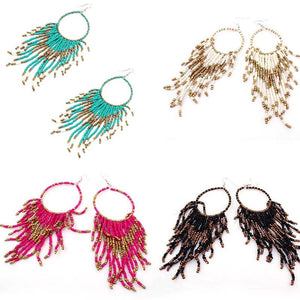 Beaded Fringed Dangling Earrings