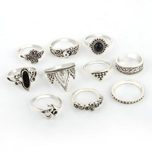 10 Piece Vintage Gypsy Queen Ring Set