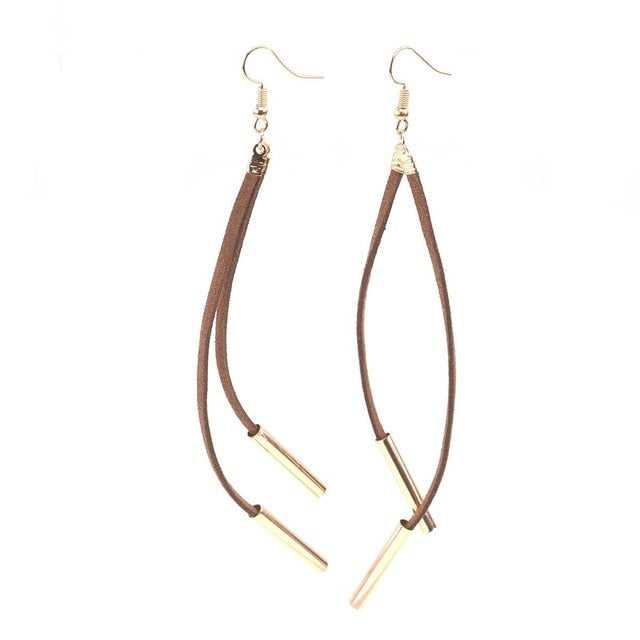 Long Dangly Suede & Metal Tassel Earrings