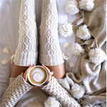 Cream Knit Thigh High Soft Winter Socks