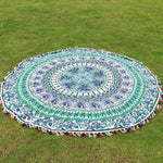 Blue & Green Round Mandala Tasselled Tapestry