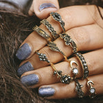 CrazyFeng 11pcs/Set Boho Vintage Punk Antique Flower Carved Midi Finger Ring For Women Bohemian Knuckle Ring Set Jewelry Anillos