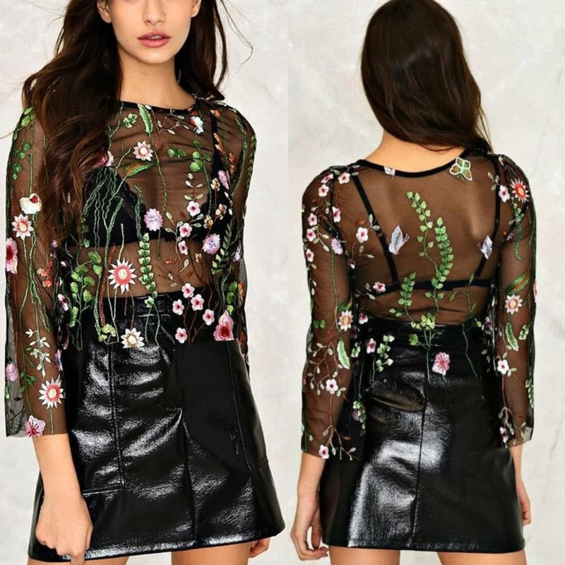 Floral Embroidered Black Mesh Top