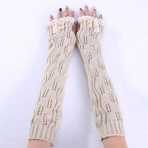 1pair Fashion Ladies Winter Arm Warmer Fingerless Gloves Lace Button Knitted Long Warm Gloves Mittens For Women  88  FS9