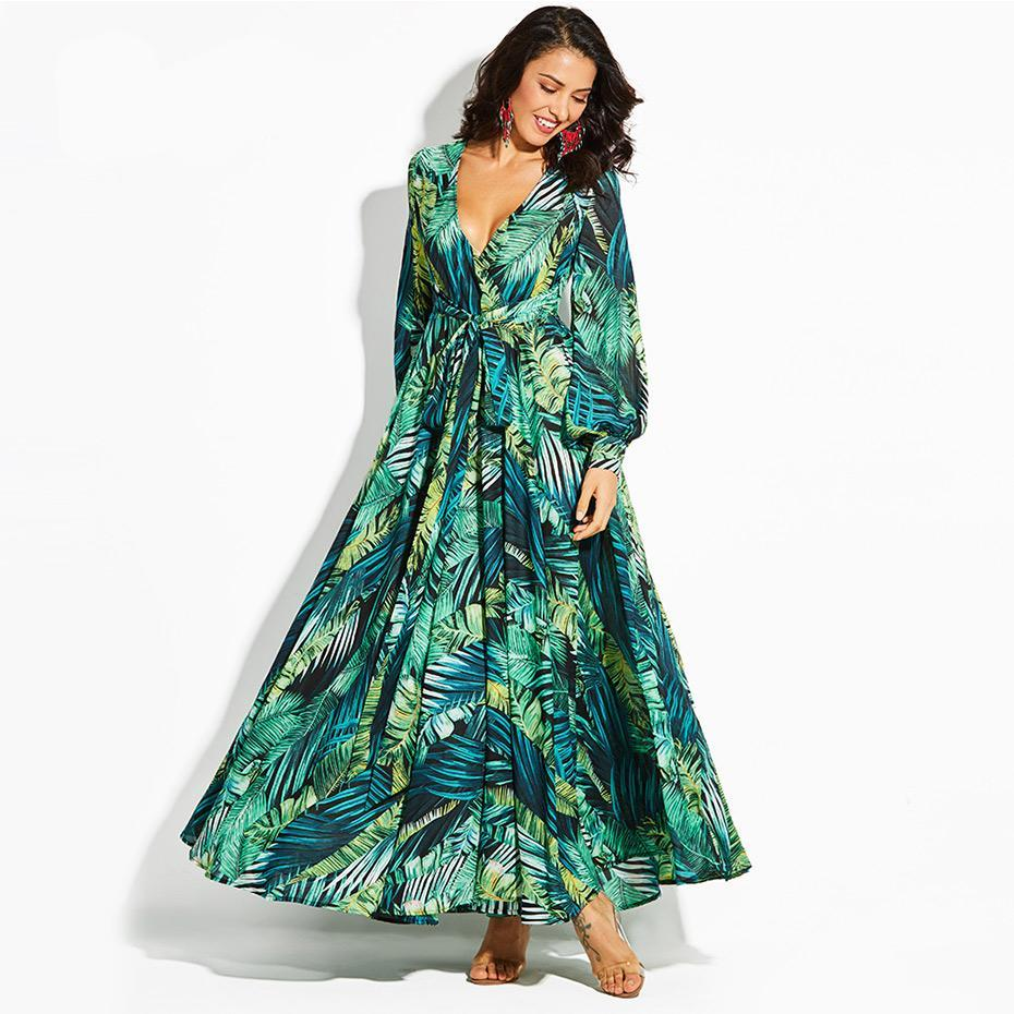 Tropical Palm Print Vintage Maxi Dresses