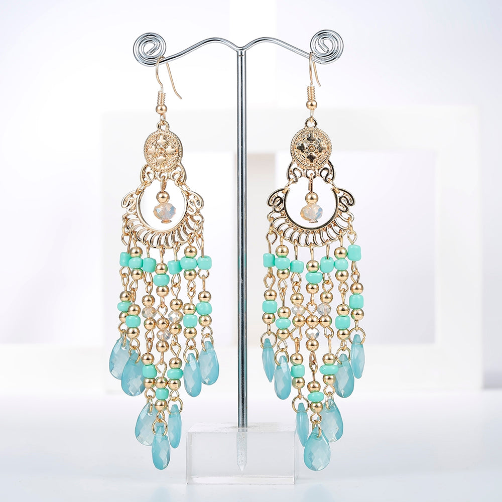 Aqua Dangly Boho Beaded Earrings