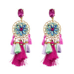 JUJIA colorful Bohemian Tassel Earrings New Statement earring Jewelry Factory Wholesale crystal Fringing earrings oorbellen