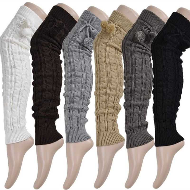 Knit Thigh High Leg Warmers with Pom Poms - 6 Colors