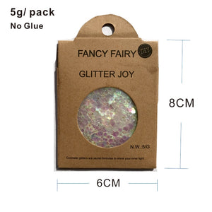 "Festival Glitter - ""Fancy Fairy"" - Iridescent Violet Stars & Hexagons"