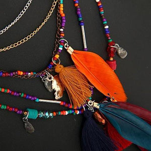 Colorful Multilayered Beaded & Feather Necklace