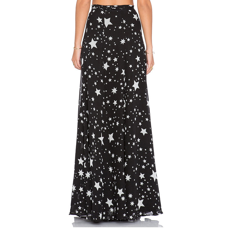 Sheer Chiffon Star Maxi Skirt with Side Slit