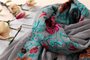 2018 Plain Embroidered Floral Viscose Scarf Shawl From Indian Bandana Print Cotton Scarves and Wraps Foulards Sjaal Muslim Hijab