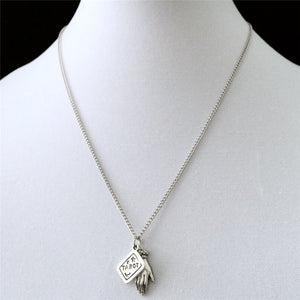 Antique Silver Tarot & Palmistry Charm Necklace