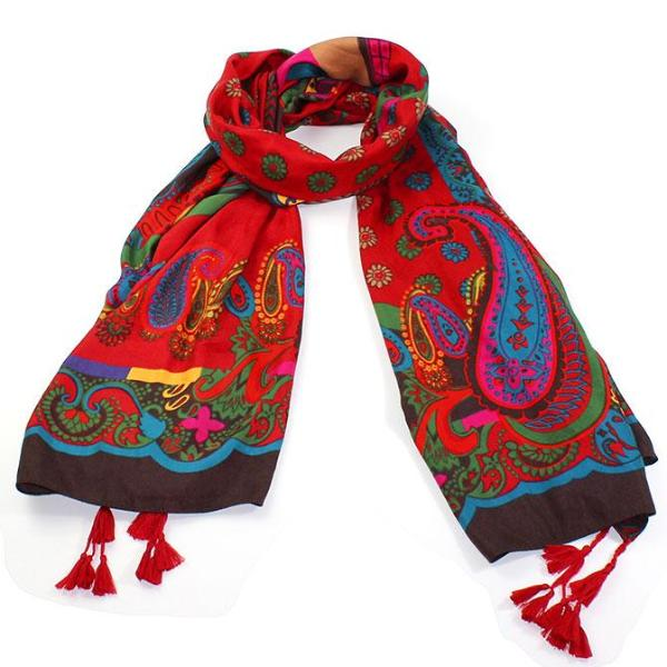 Bohemian Gypsy Multicolored Paisley Scarf