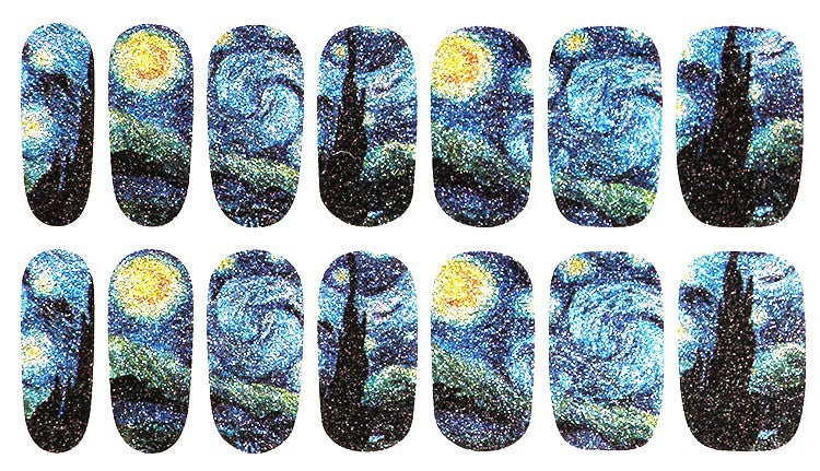 Van Gogh Starry Night Designs Water Transfer Sticker Nail Art Decals - 1 Sheet