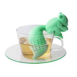 Tea Infuser Silicone Cute Squirrel Shape Tea Coffee Loose Leaf Strainer Bag Mug Filter Teapot Teabags Drinkware Gifts E2