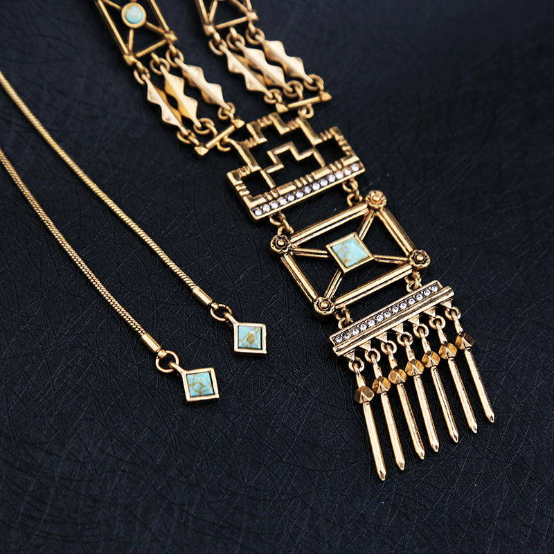 KISS ME Hollowed Geometric Vintage Adjustable Long Necklace Trendy Women Pendant Necklace Christmas Gifts