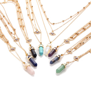 Stone Point & Lucky Eye Layered Necklace - 8 Colors