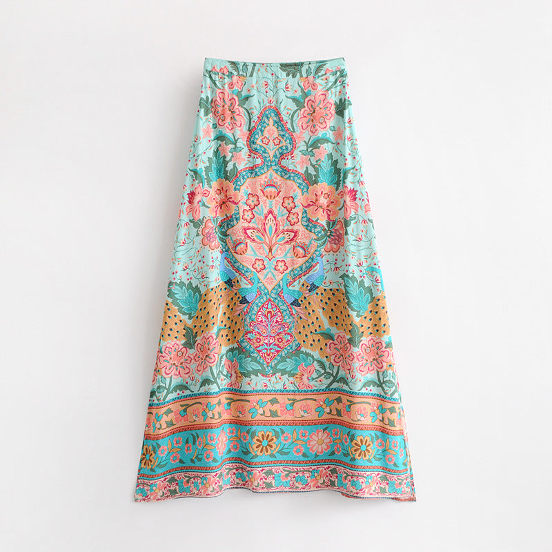 Mint & Peach Two Piece Kimono Top & Maxi Skirt Set