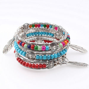 Boho Vintage Feather Tibetan Bangle Bracelet - 4 Colors