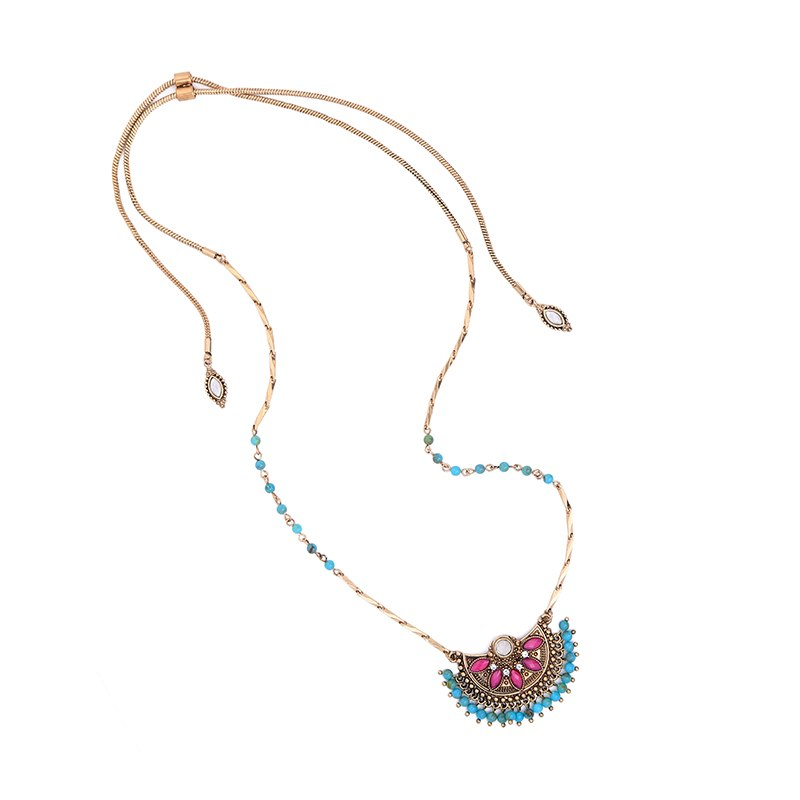 KISS ME Adjustable Snake Chain Vintage Necklace 2017 Women Beads Semicircle Pendant Necklace Ethnic Jewelry