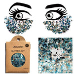 "Festival Glitter - ""Unicorn"" - Turquoise & Silver Mixed Shapes"