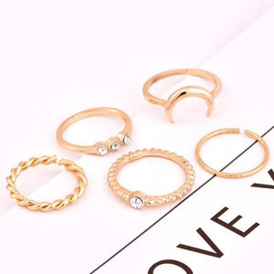 Crystal Moon Ring 5 Piece Set