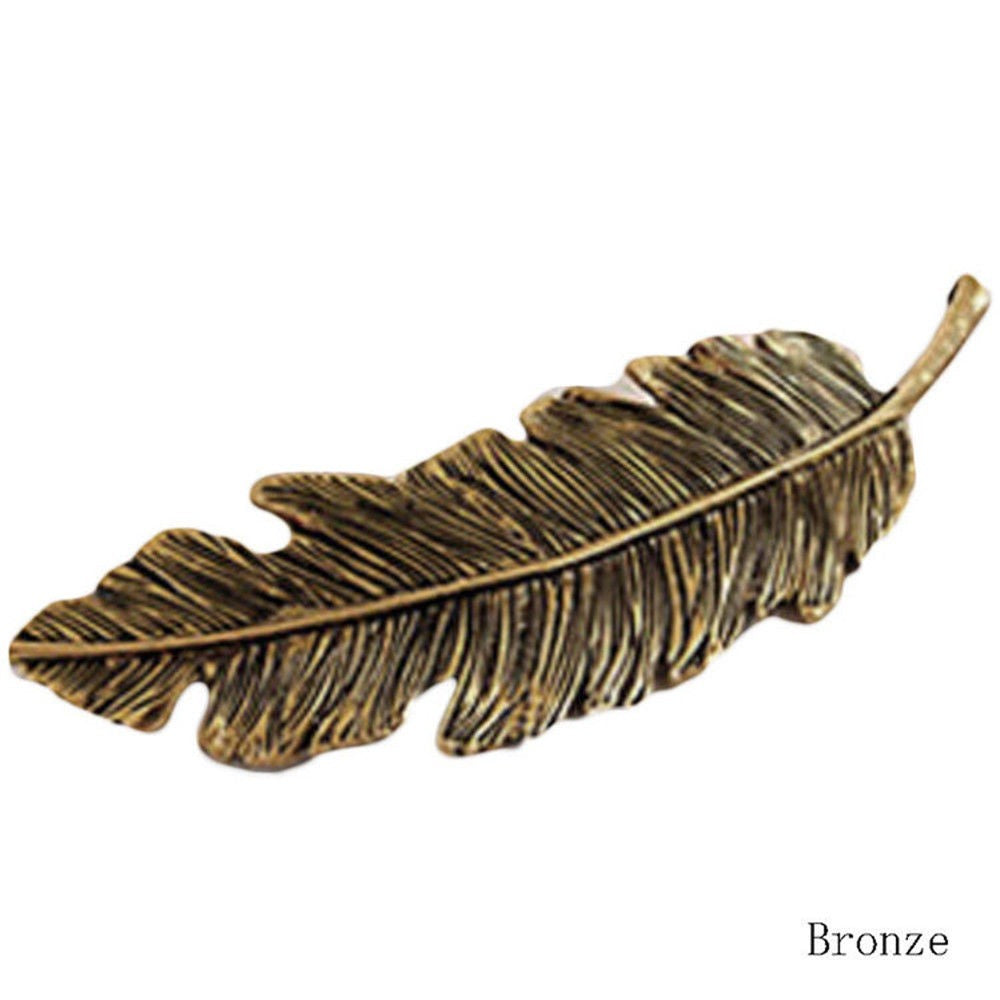 Metal Feather Hair Barrette - 3 Colors