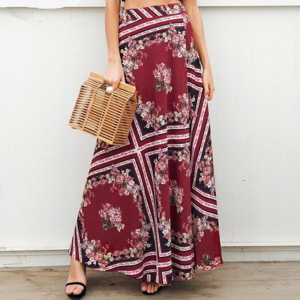 Cranberry Floral Geometric Maxi Wrap Skirt