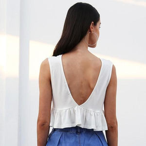 Backless Ruffle Crop Top - 7 Colors