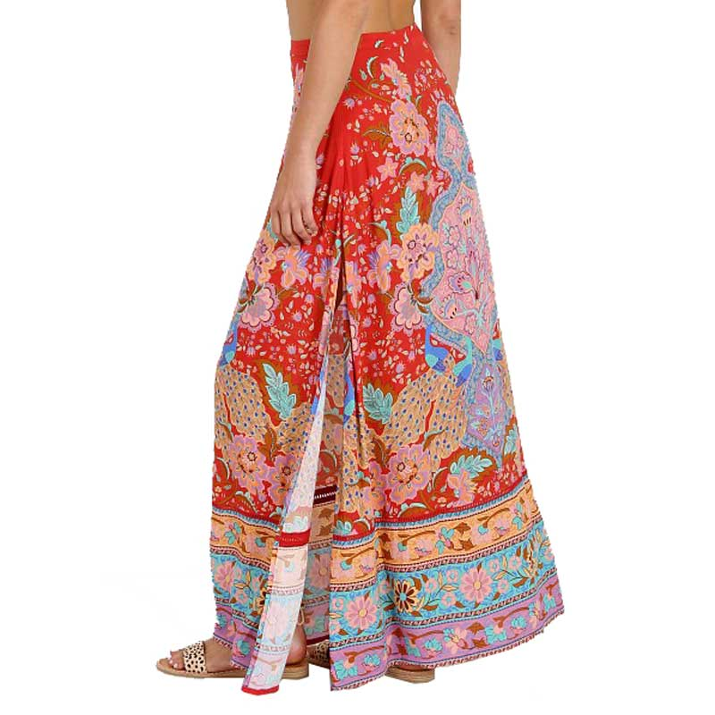 Ornate Floral Gypsy Maxi Skirt