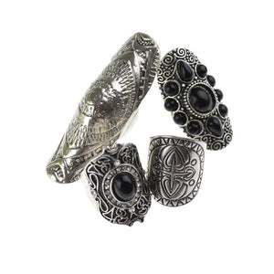4 Piece Antique Silver Bohemian Ring Set