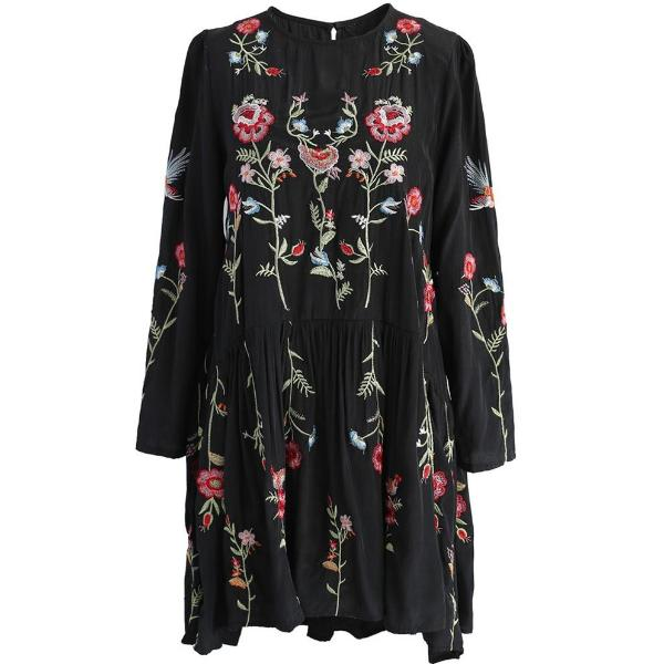 Floral Embroidery Boho Mini Dress