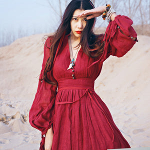 Red Vintage Style Boho Maxi Dress
