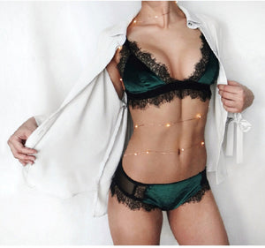 Lux Velvet & Eyelash Lace Bra & Panty Set - 3 Colors