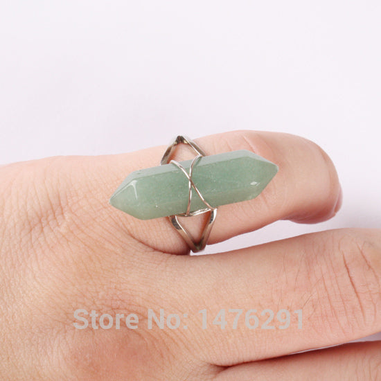 Fluorite Purple Crysta Rose Pink Quartz Opal Clear Crystal Howlite Stone Onyx Bicone Bead Faceted Steel Wire Winding  Ring  1PCS