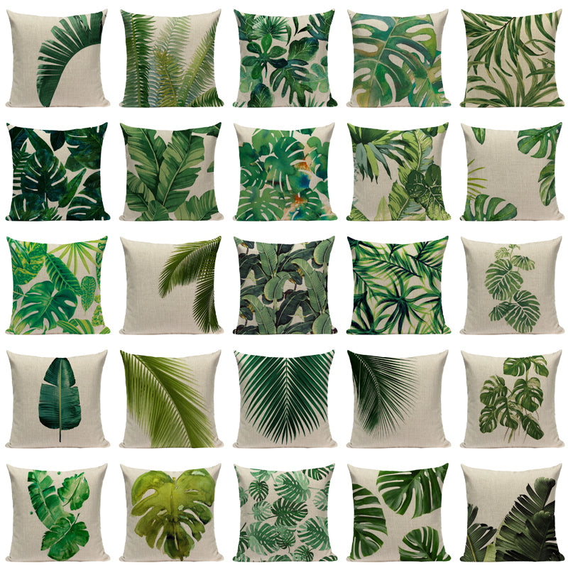 Tropical Palm & Monstera Leaves Throw Pillow Covers - 25 Styles