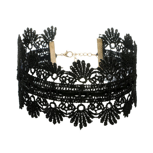 Tocona Gothic Wide Flower Black Lace Chokers Necklaces for Women Fashion Punk Gothic Choker Sweet Vintage Collares Necklace
