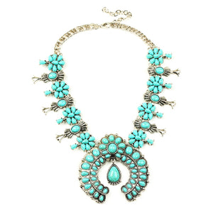 2018 classic antique pumpkin flower necklace statement pendant necklace N100008 Latest design squash blossom necklace fabulous