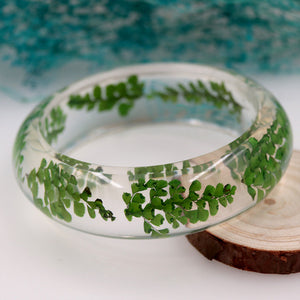 Handmade Translucent Dried Green Fern Resin Bangle Bracelet
