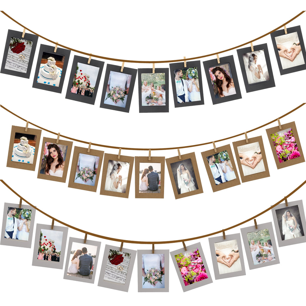 10 Piece DIY Photo Frame Wooden Clip Garland - 4 Colors